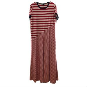 Who What Wear Women's Red Striped Maxi Dress Large